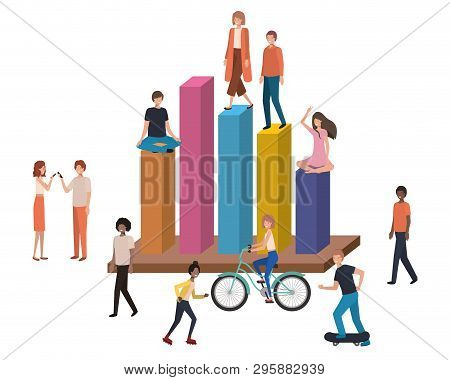 Graph Of Statistics With People Around Avatar Character Vector Illustration Design