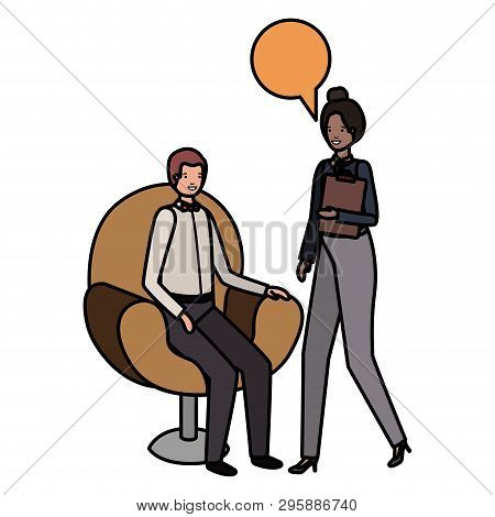 Couple Of Business With Speech Bubble Vector Illustration Desing