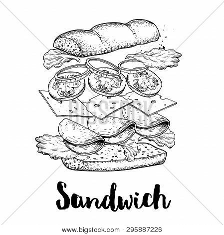 Sandwich Constructor. Flying Ingredients With Big Chiabatta Bun. Hand Drawn Sketch Style Vector Illu