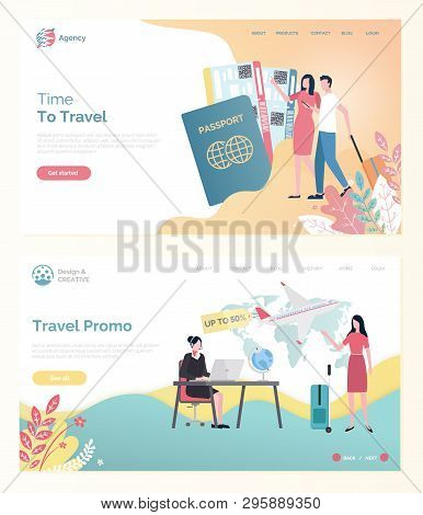 Time To Travel, Ticket Discount Online, Tourists Man And Woman With Bag, Traveler Portrait View With