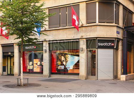 Zurich, Switzerland - August 1, 2018: Swatch Store On Bahnhofstrasse Street In Zurich. Swatch Is A B