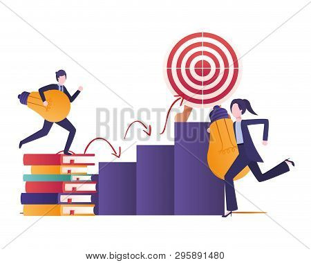 Target Shot And Business Couple Avatar Character Vector Illustration Design
