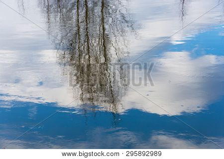 Beautiful Reflection Of Trees In The Blue Mirror Smooth Surface Of The River.