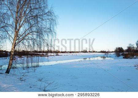 Beautiful Spring Landscape With A Small Quiet River In The Evening.
