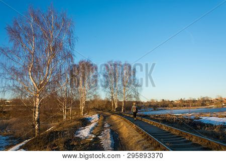 Beautiful March Landscape With Birches, Railway, Stretching Into The Distance.