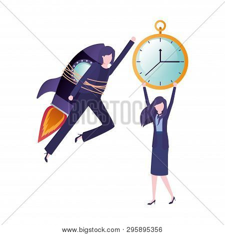Businesswomen With Rocket And Clock Avatar Character Avatar Character Vector Illustration Desing