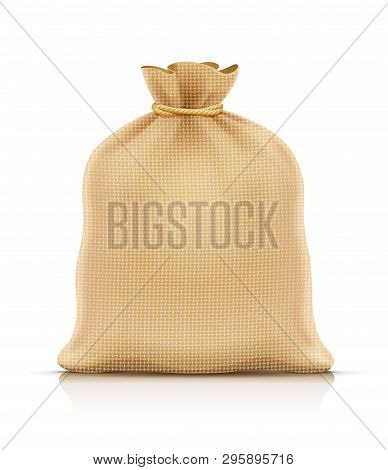 Burlap Sack For Products. Housekeeping And Agriculture Equipment. Close Hessian Bag For Cargo. Isola