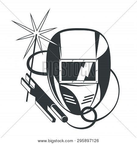 Welder Mask And Welding Machine Vector, Metal
