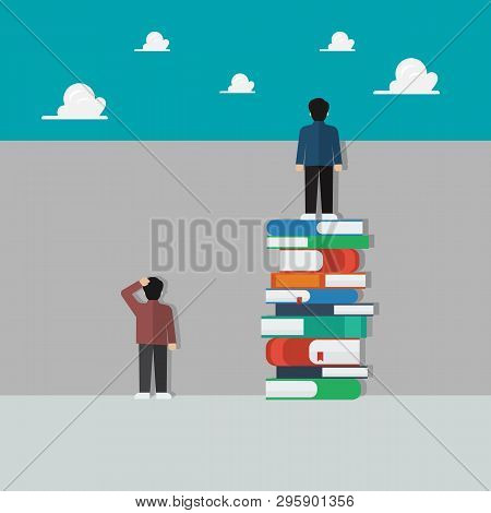 Smart People Standing On A Lot Of Books And Stupid People Stand Against The Wall. Knowledge Educatio
