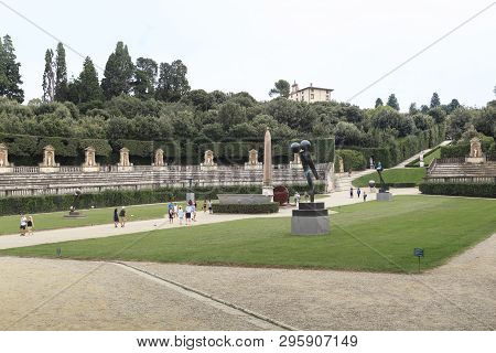Florence, Italy - September 13, 2018: This Is The Amphitheater At The Bottom Of The Main Axial Path