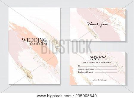 Coral Gold Greeting Brush Strokes Wedding Decoration. Vector Glitter Orange Sparkling Background. Wa