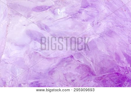 Amethyst Crystal Druse  Macro Mineral On White Background Close Up