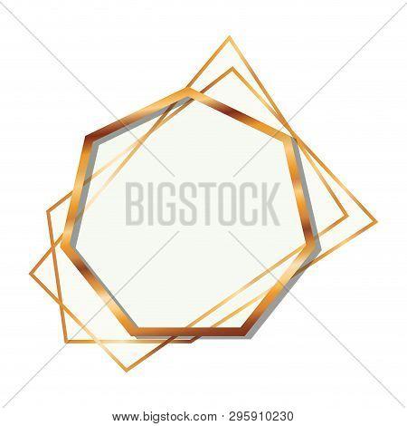 Golden Frame Heptagon Isolated Icon Vector Illustration Design