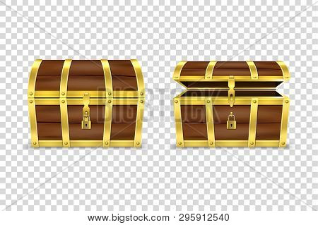 Vector 3d Realistic Closed And Opened Retro Vintage Antique Old Treasure Wooden Brown Pirate Dower C
