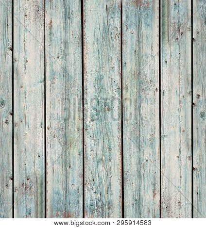 Blue Wooden Plank Desk Table Background Texture. Old Painted Wall Wooden Vintage Floor. Green Plank