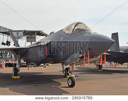 Lakeland, Fl, Usa - April 17, 2019: Usaf United States Air Force Lockheed Martin F-35a Lighting Ii S