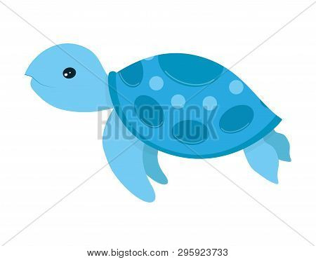 Cute Blue Turtle Smiling Vector Illustration Isolated On White Background, Cartoon Print With Sea An