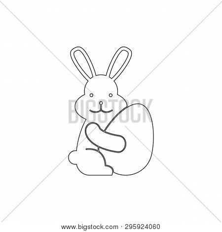 Paschal Rabbit With Egg Outline Icon. Elements Of Easter Illustration Icon. Signs And Symbols Can Be