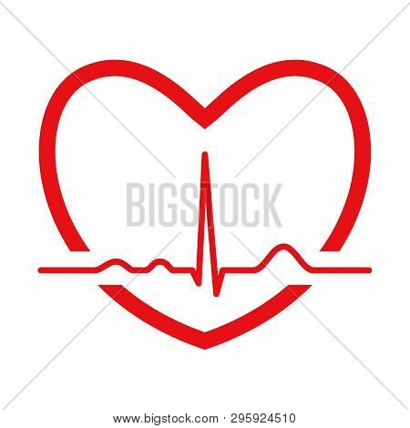 Red Heart With Ekg Line. Electrocardiography. Medical Design. Vector Illustration.