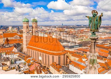 Aerial Panoramic View Of Munich City Center Showing The City Hall Near The Frauenkirche In Germany.