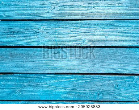 Wooden Fence Of Blue Boards. Boards Blue. Blue Wooden Background.