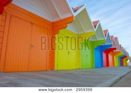 Colorful British Beach Huts
