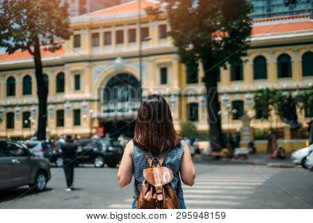 Young Woman Traveler Traveling Into Saigon Central Post Office On At Ho Chi Minh In Vietnam