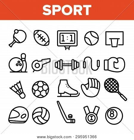 Sports Games Equipment Linear Vector Icons Set. Sport Activities Thin Line Contour Symbols Pack. Tea