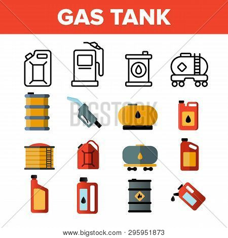 Gas, Petrol Tank Linear Vector Icons Set. Car Refueling Thin Line Contour Symbols. Gasoline Reservoi