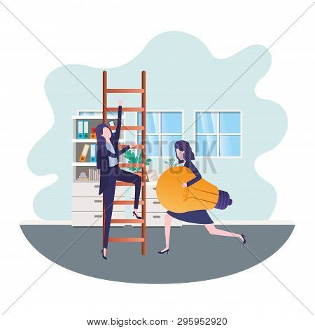 businesswomen with stair and light bulb in living room vector illustration desing poster