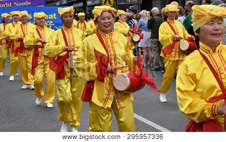 Bowral, Australia - Sept 22, 2018. Falun Gong Meditation. Tulip Time Street Parade Features Marching