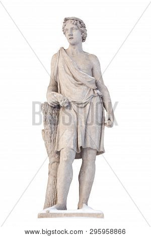 Sculpture Of The Ancient Greek God Adonis Isolate. Adonis Was A God Of Beauty, Desire And Vegetation