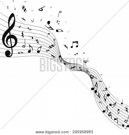 Musical Design From Music Staff Elements With Treble Clef And Notes With Copy Space. Elegant Creativ