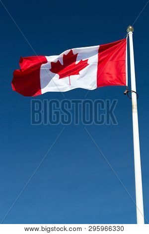 The Canadian Flag On A Falgpole With A Clear Blue Sky.