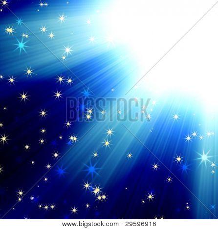 raios do sol em um céu azul escuro com estrelas, abstrato