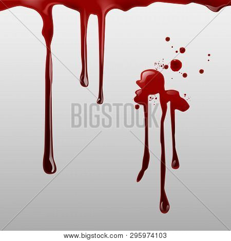 Vector Illustration Of Dripping Blood And Set Of Different Gore Splashes, Drops And Trail On Backgro