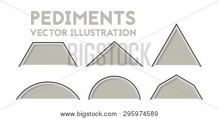 Set Of Blueprint Gables. Vector Illustration. Industry And Construction.