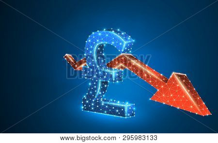 British Pound Currency, Downtrend Red Arrow, Digital, Blue, Neon 3d Illustration. Polygonal Vector B