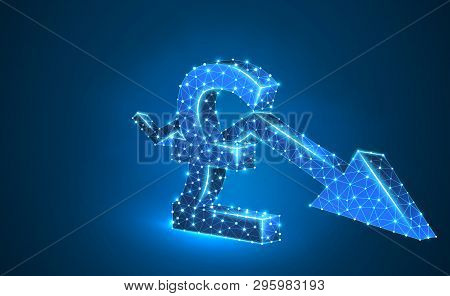 British Pound Currency, Downtrend Arrow, Digital Neon 3d Illustration. Polygonal Vector Business Cri