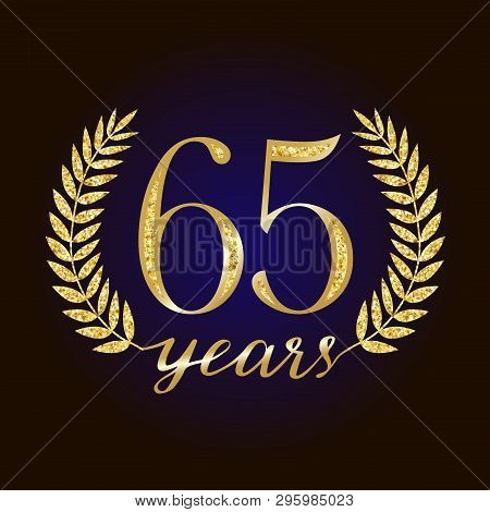 65 Th Years Old Logotype. Isolated Elegant Abstract Nominee Graphic Seal Of 65%. Congratulating Cele