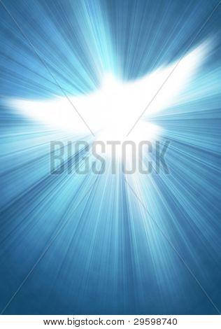 pomba com raios sobre um fundo azul de brilho