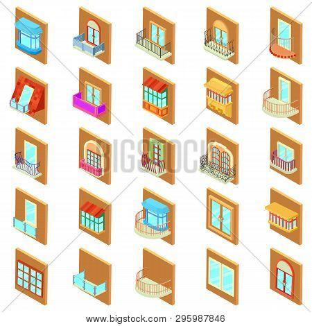 Window Icons Set. Isometric Set Of 25 Window Vector Icons For Web Isolated On White Background