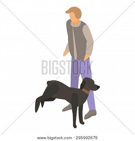 Black Dog Training Icon. Isometric Of Black Dog Training Vector Icon For Web Design Isolated On Whit