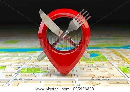 Food, restaurant or cafe location and direction concept. Pin or map point with fork nife and  on map of city. 3d illustration