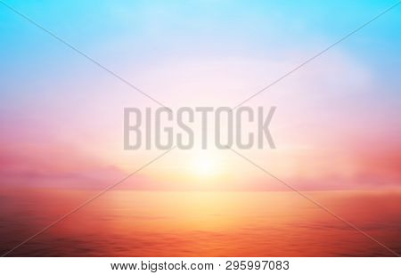 Sunset Horizon Cool Sea Background On Horizon Tropical Sandy Beach; Relaxing Outdoors Vacation With