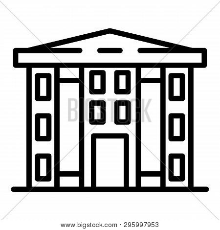 Finance Courthouse Icon. Outline Finance Courthouse Vector Icon For Web Design Isolated On White Bac