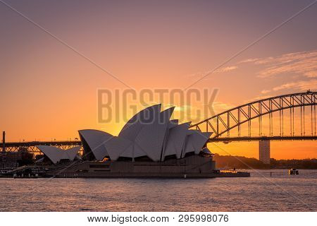 Sydney, New South Wales / Australia - May 17th 2016: Wide Shot Of Sydney Opera House And Harbour Bri