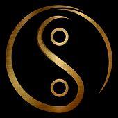 metallic golden yin yang chinese  illustration feng shui  balance zen silhouette taoism black background poster