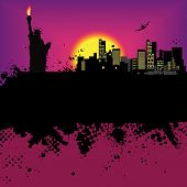 Vector - New York Grunge city at sunset with the statue of liberty poster