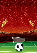 Football Background with Large Soccer Stadium. Vector Illustration with Space for your Text poster